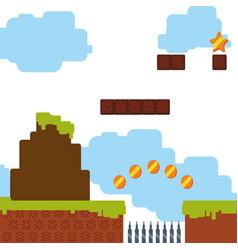 Pixelated scenery videogame vector