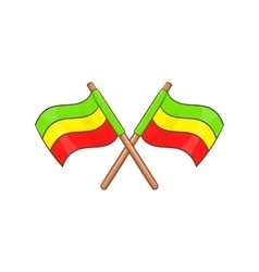 Rastafarian crossed flags icon cartoon style vector