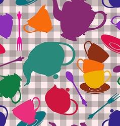 Seamless pattern of tea set vector image