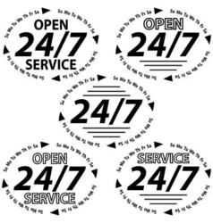 set logo 24 hours 7 days week vector image vector image