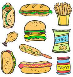 set of food various doodles vector image