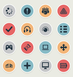 Set of simple play icons elements plus monitor vector