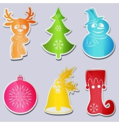Set six icons snowman wearing scarf hat deer head vector