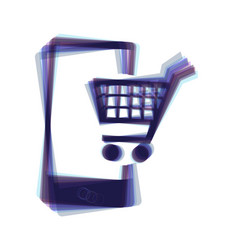 Shopping on smart phone sign colorful vector