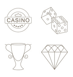 simple set of gambling related line icons vector image vector image