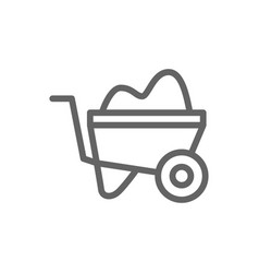 simple wheelbarrow line icon symbol and sign vector image