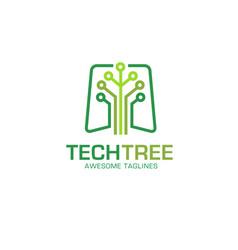 Tech tree logo concept vector