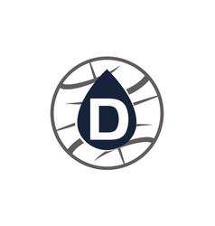 Water oil world letter d vector
