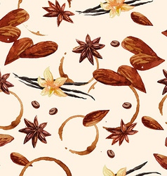Watercolor coffee pattern with coffee beans and vector image