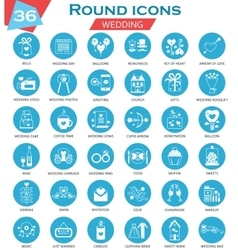 Wedding circle white blue icons set ultra vector