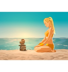 Young slim woman on sea beach vector image vector image