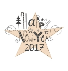 Hand drawn lettering happy new year 2017 vector