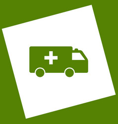 Ambulance sign   white icon vector