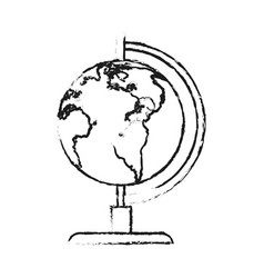 Blurred silhouette image cartoon earth globe vector