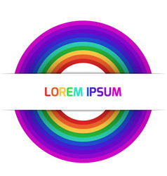 Template of greeting card with rainbow and place vector