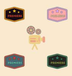 Movie label collection in flat vector