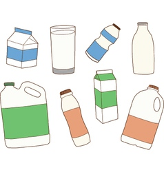 Various packages for dairy products vector