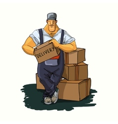 Delivery man with boxes vector
