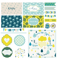 Vintage rain sky party set vector