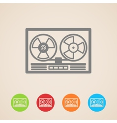 Reel tape recorder icons vector