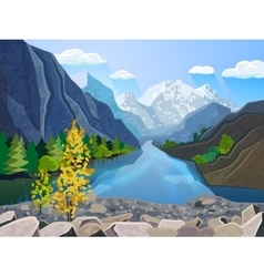 Landscape summer mountains range print vector