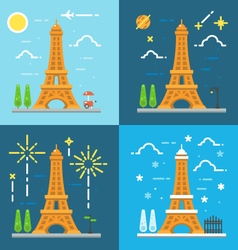 Flat design 4 styles of eiffel tower paris france vector