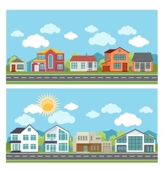 Banners with cottage houses in flat design vector