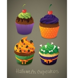 Halloween cupcake set scary sweets to celebrate vector