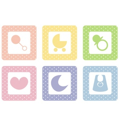 Sweet pastel icons with polka dot vector