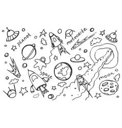 Doodle set of cosmos vector image