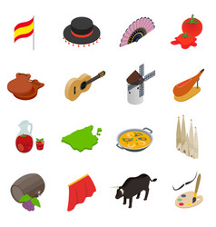 Spain isometric 3d icons vector image