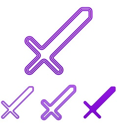 Purple line sword logo design set vector