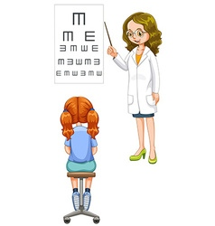 Girl having her eyes checked vector