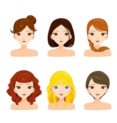 Young women faces with various hairstyles set vector