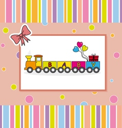 Children postcard of a train vector