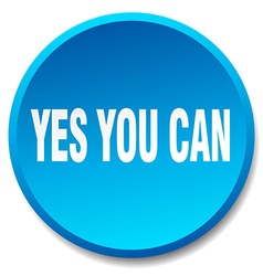 Yes you can blue round flat isolated push button vector