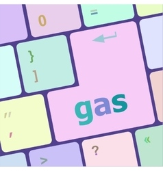 Gas word on keyboard key notebook computer button vector