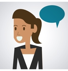Bubble with female person icon communication vector