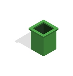Green trash bin icon isometric 3d style vector