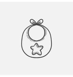 Baby bib sketch icon vector image vector image