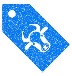 Bull tag icon grunge watermark vector