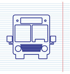 Bus sign navy line icon on vector