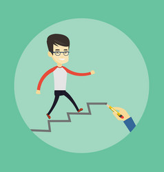 business man running up the career ladder vector image vector image