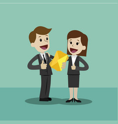 businessman or manager and businesswoman have a vector image vector image