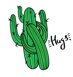 Couple of cactus with message hugs vector
