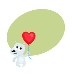 Cute and funny bear holding red heart shaped vector