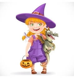 Cute little witch with a dragon under his arm and vector image