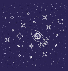 Dark blue background with hand drawn flying rocket vector