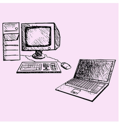 desktop computer and laptop vector image