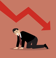 Desperate businessman with graph down vector